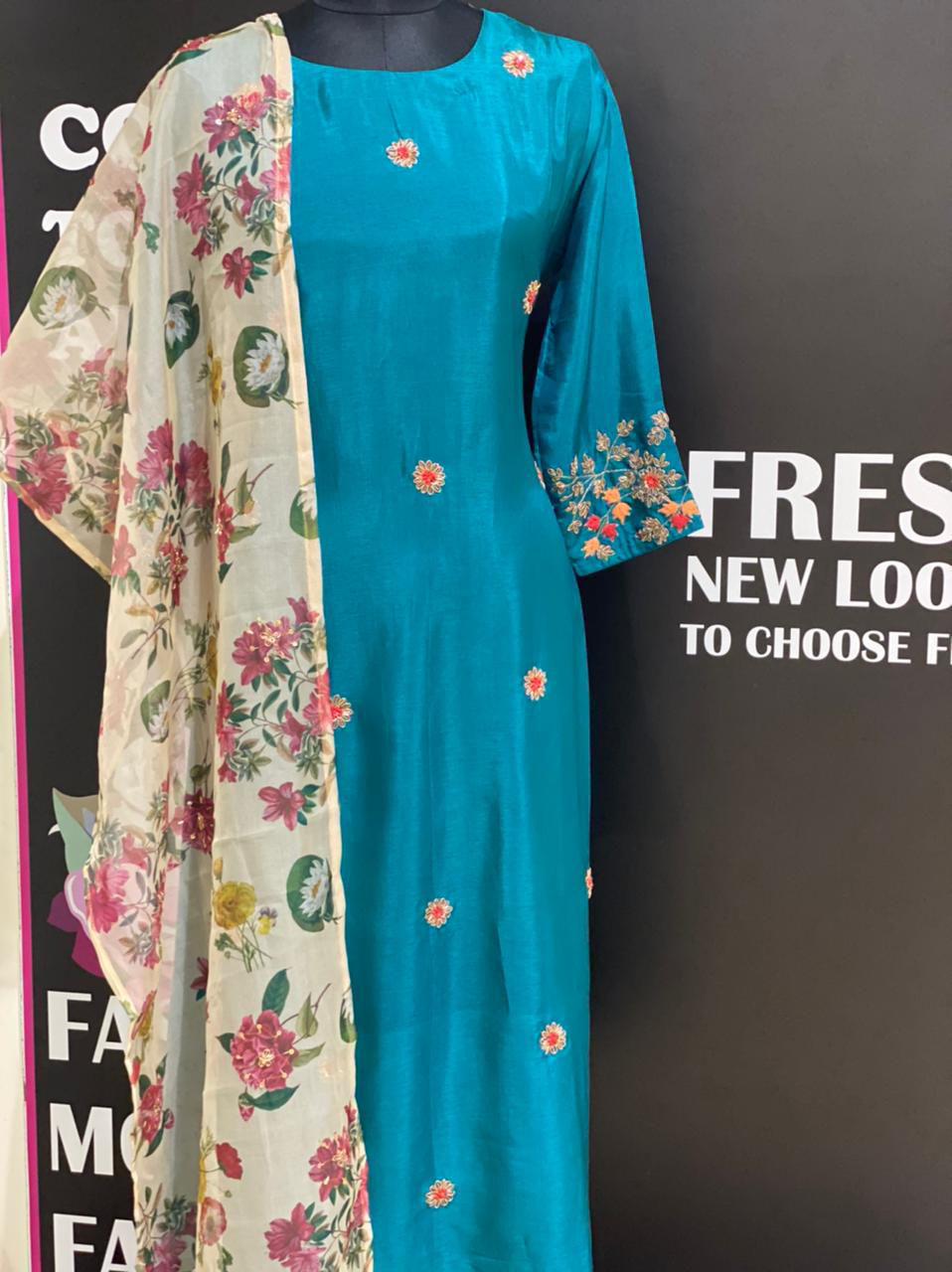 Picture of Pure Silk Kurta With Contrast Organza Floral Dupatta