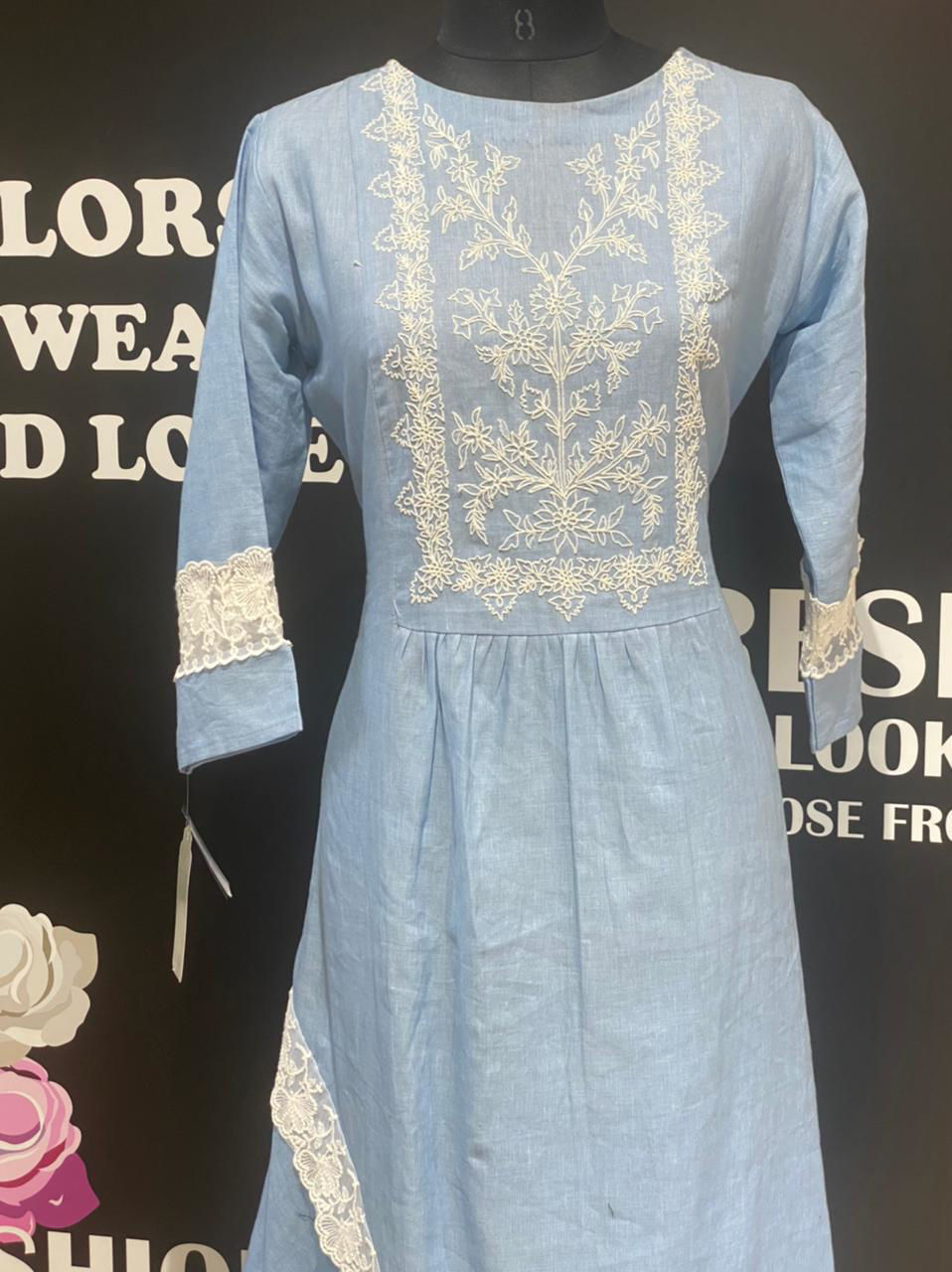 Picture of Long Soft Linen Cotton Tunic With Embroidery