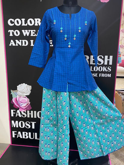 Picture of Handloom Cotton Peplum Top With Palazzo