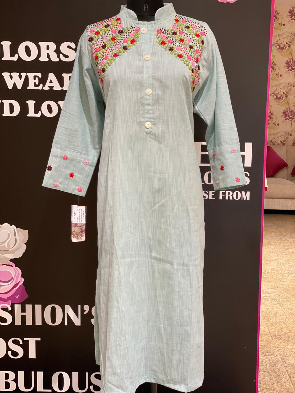 Picture of Soft Linen Cotton Tunic With Work On Sleeves And Shoulder