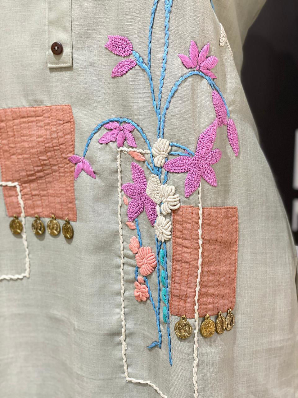 Picture of Long Tunic With Patch Work Embroidery