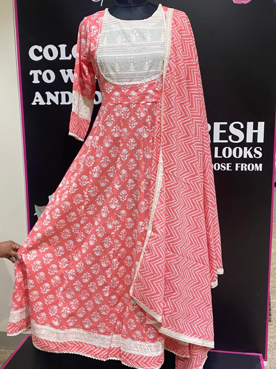 Picture of Long Anarkali Style Tunic With Block Printing And Dupatta