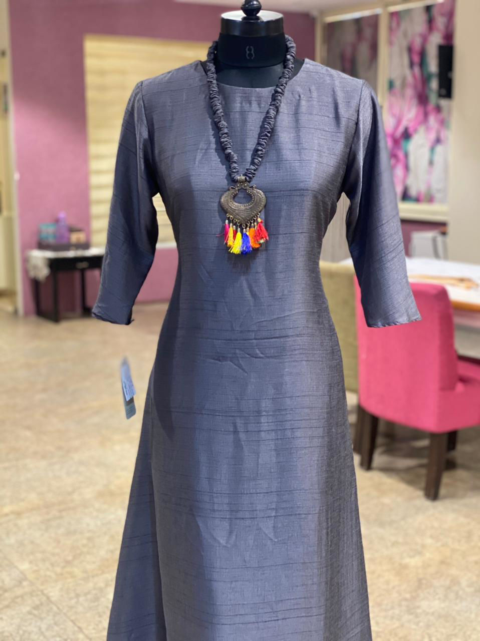 Picture of Plain Silk Long Tunic With Stylish Neckpiece - Deep Blue