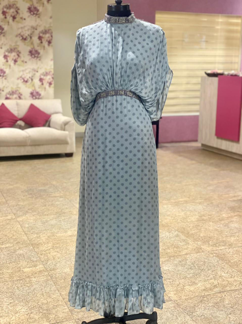 Picture of Long Gown With Sleeves- Neck and Belt Work