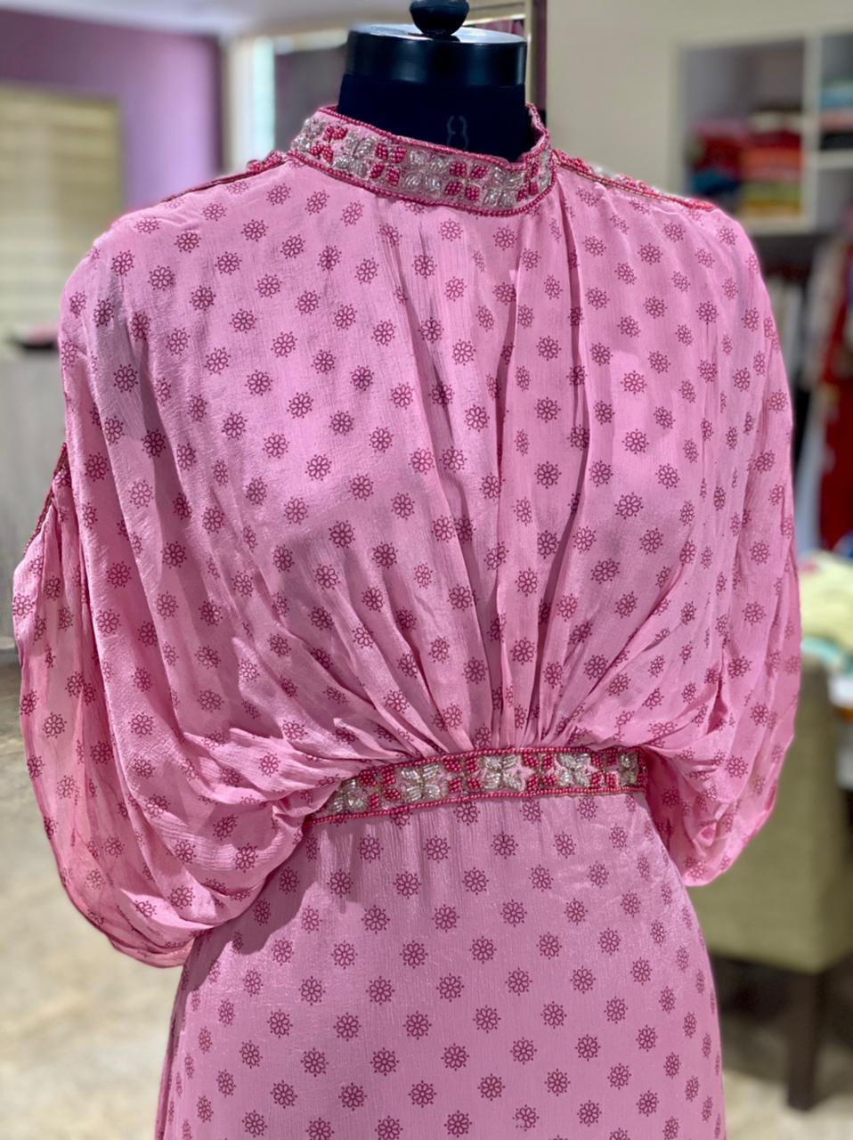 Picture of Long Gown With Sleeves- Neck and Belt Work - Pink