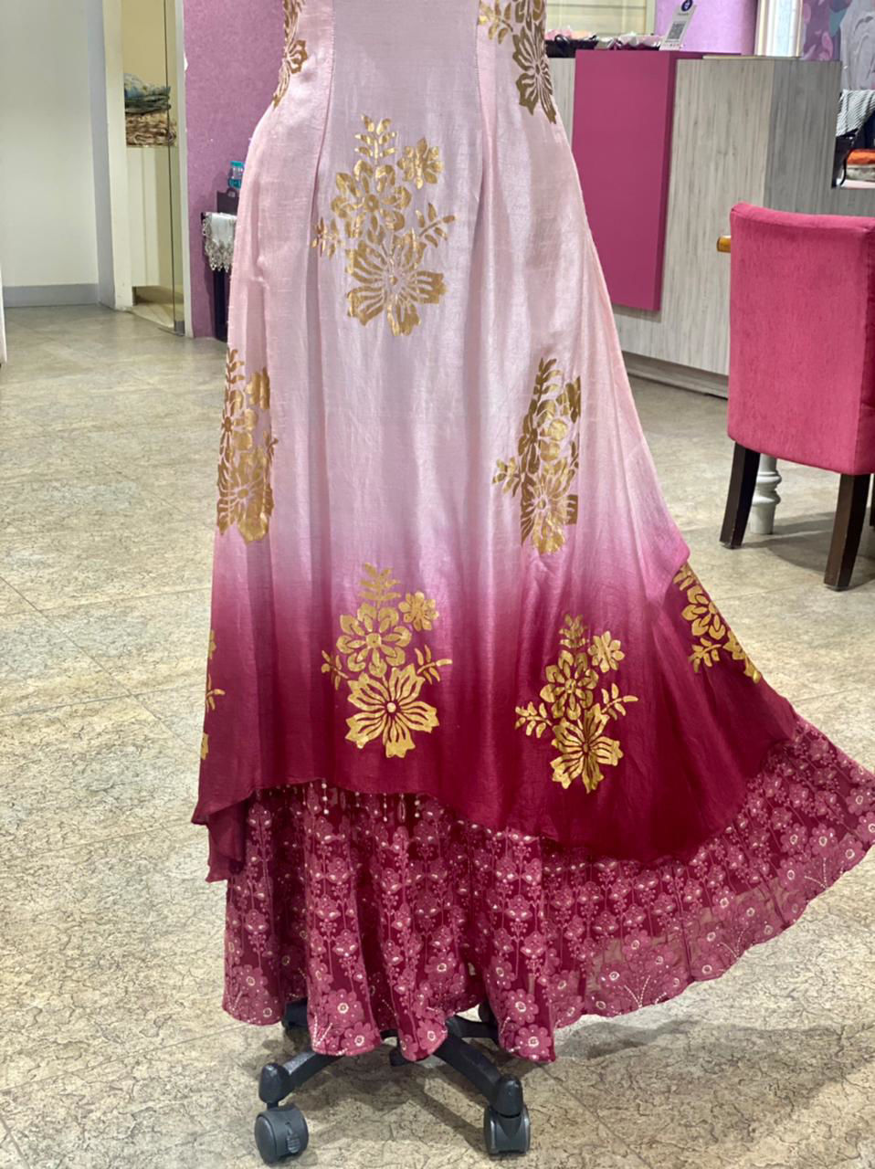Picture of Long Layered gown with Chikankari Work On Below Georgette