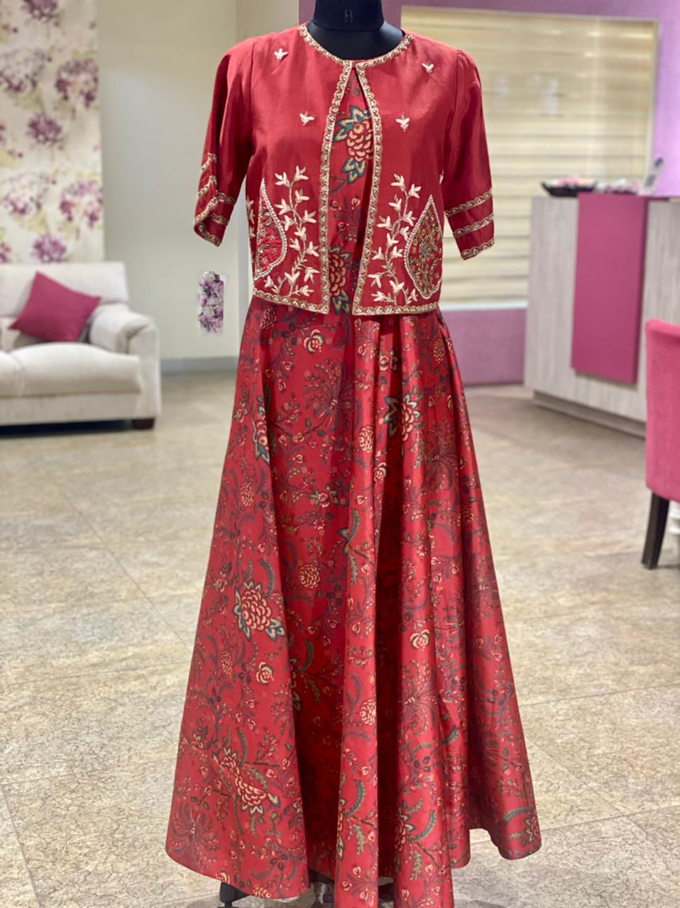 Picture of Long Sleeveless Gown And Short Silk Jacket With Zardozi