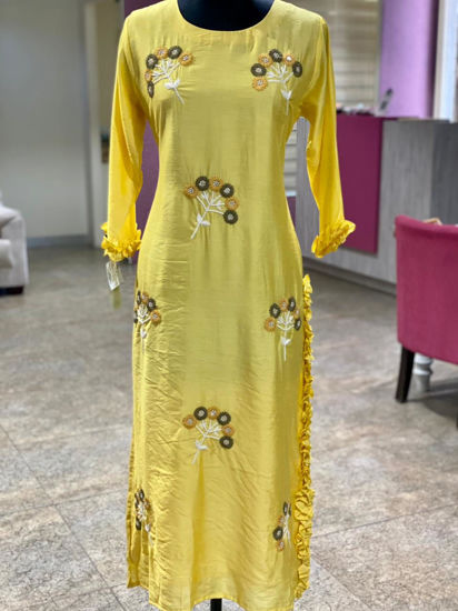 Picture of Long Straight Kurta With Work Butis