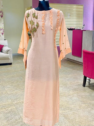 Picture of Long Straight Work Kurta With Stylish Cut Sleeves