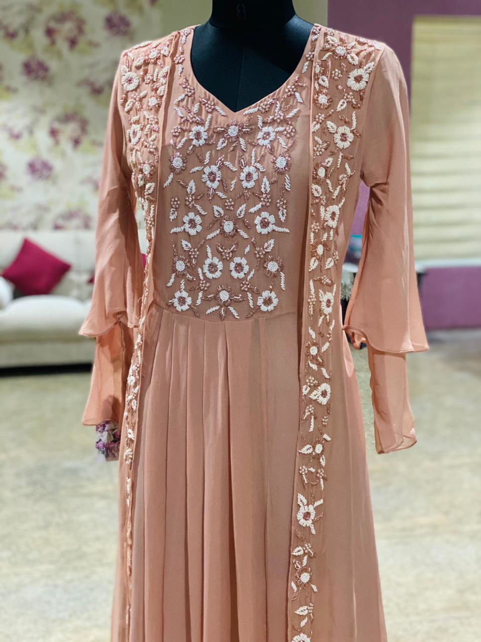Picture of Long Gown With Attached Jacket With Moti Work