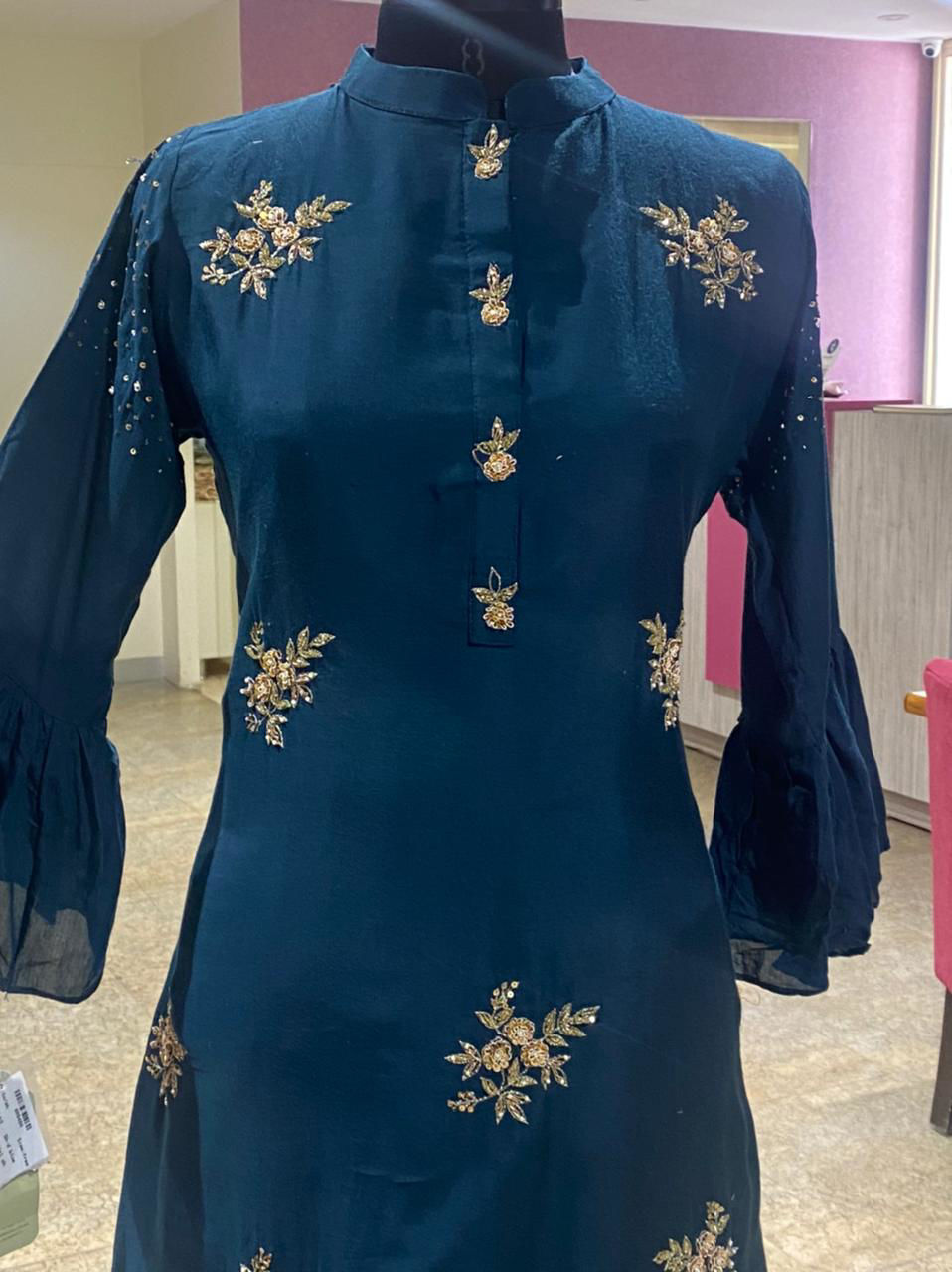 Picture of A Symmetrical Tunic With Butis And Silk Sharara