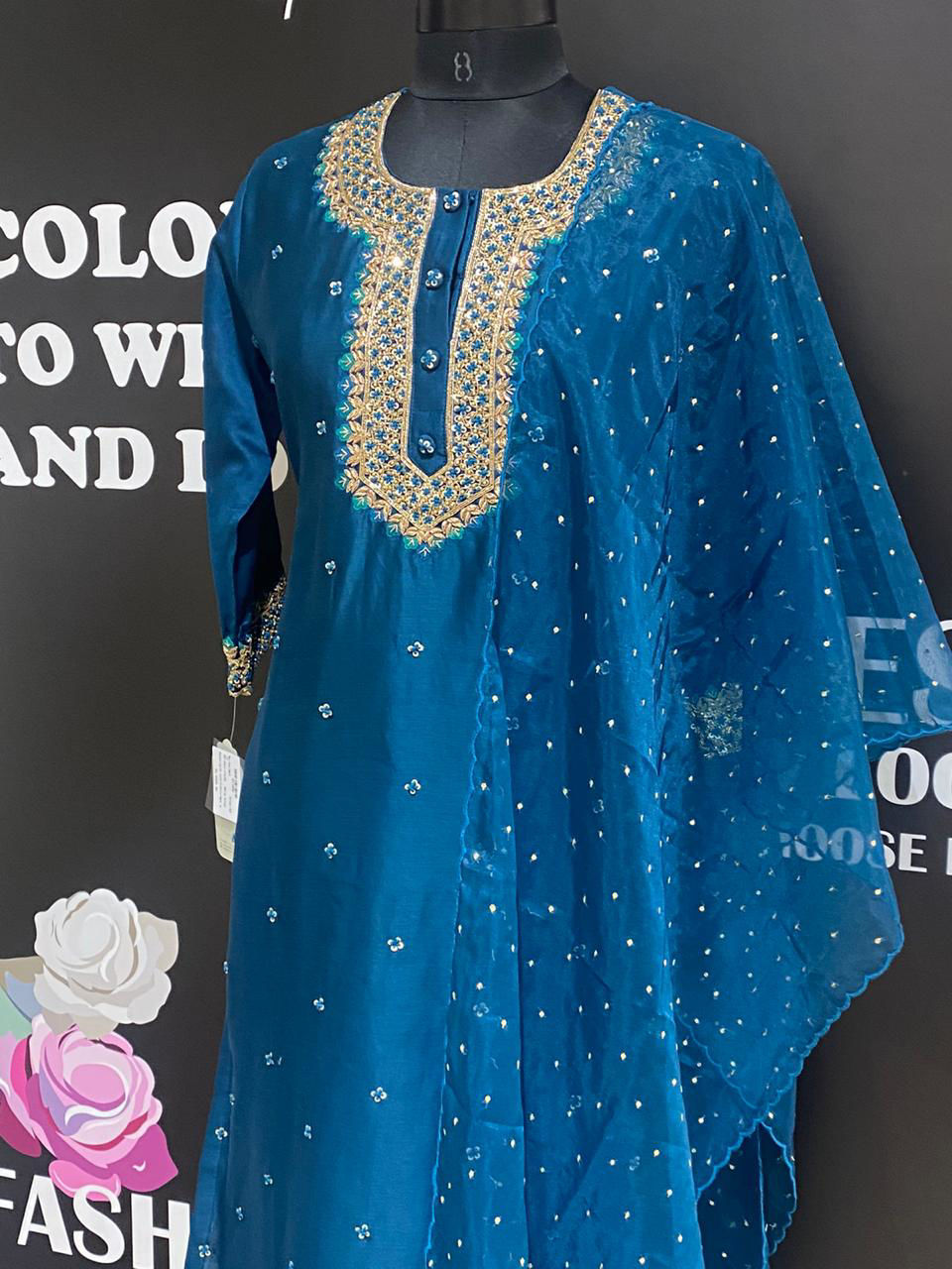 Picture of Soft Silk Zardozi Work straight Kurta With Dupatta