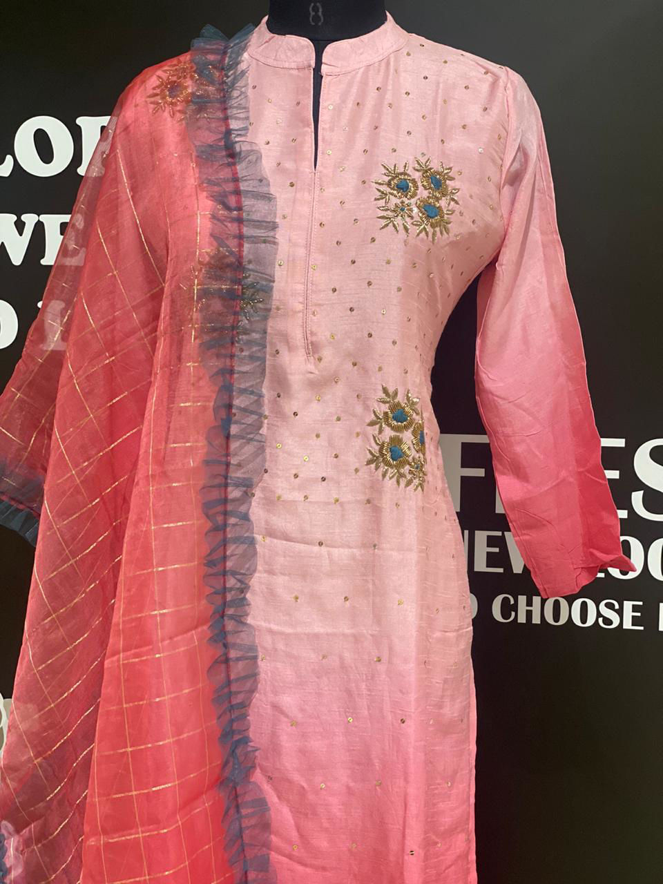 Picture of Soft Silk Hand Work Tunic With Checks Dupatta With Frills