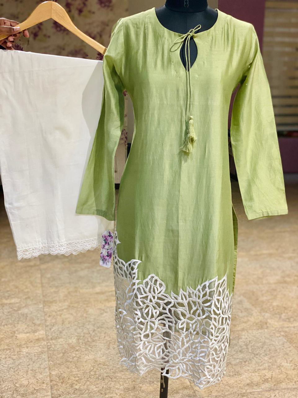 Picture of Pure Chanderi Silk Tunic With Cut Work Daaman With white palazzo