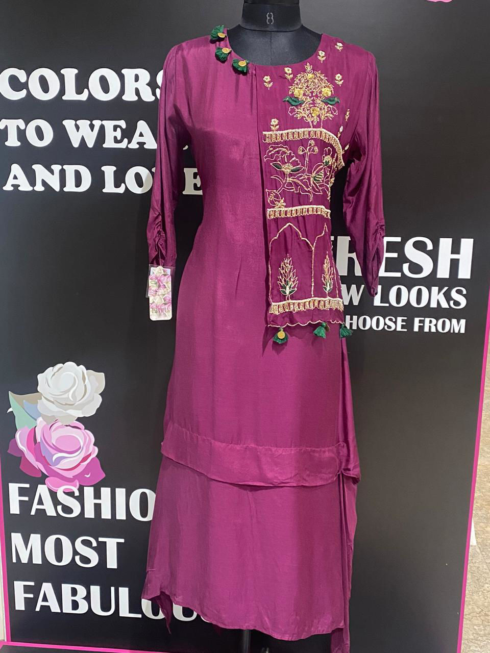 Picture of Pure Silk Long Tunic with Zardozi Work