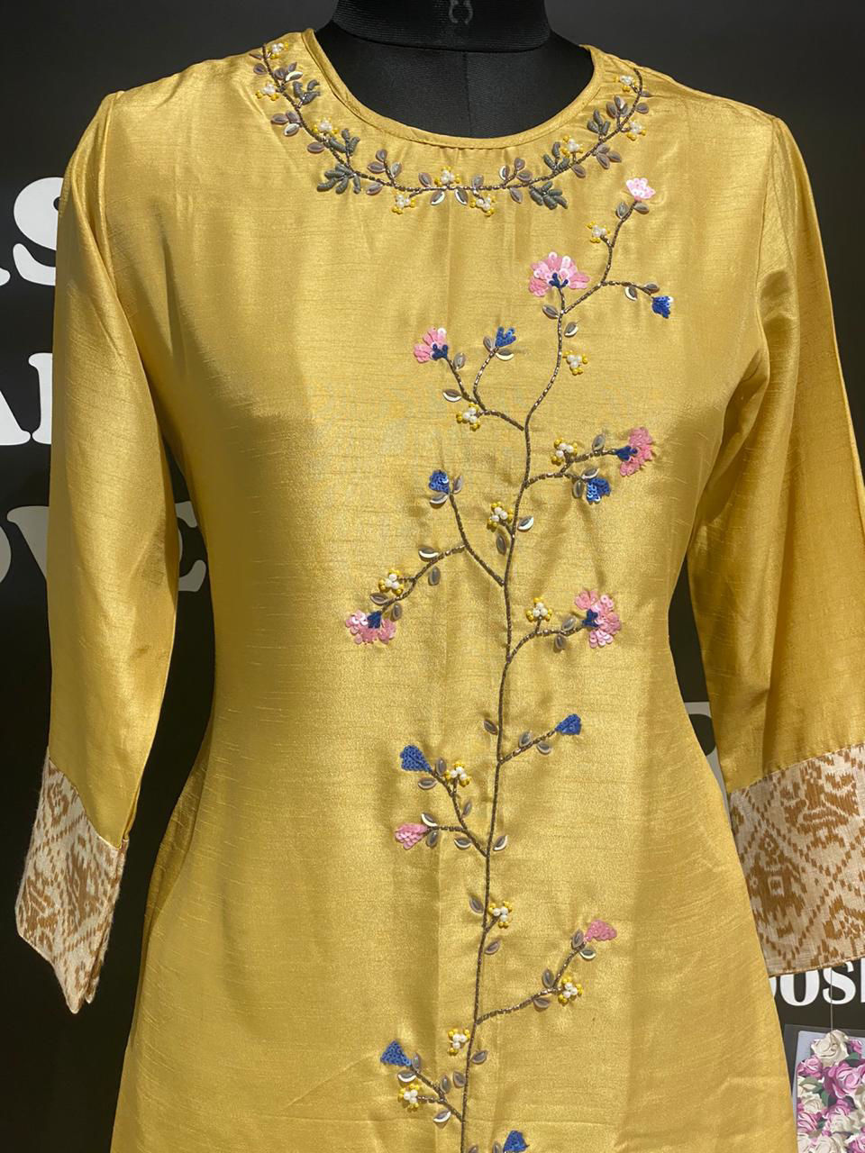 Picture of Pure Silk Straight Cut Tunic With Work