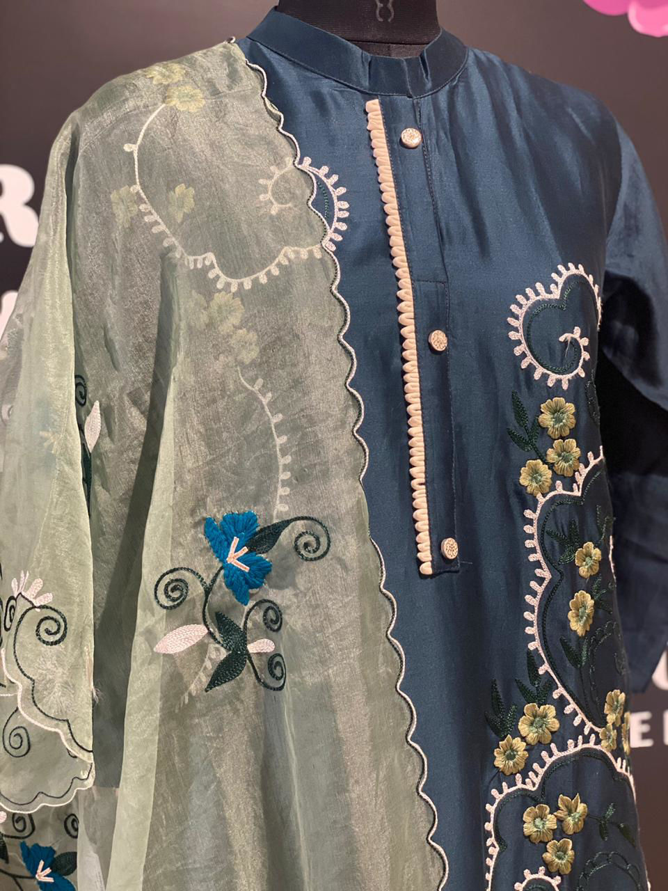 Picture of Soft Chanderi Silk Embroidery Kurta with Dupatta