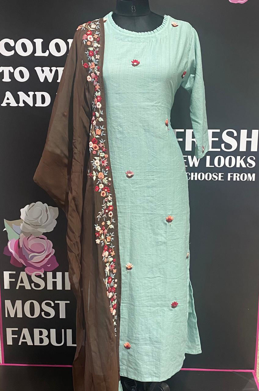Picture of Soft Linen Self Stripes Kurta With Embroidery And Silk Dupatta