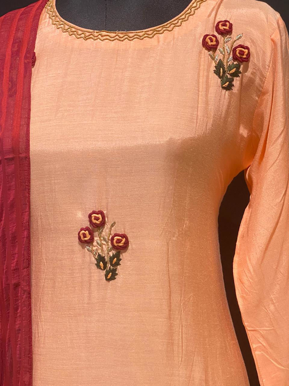 Picture of Long Straight Cut Kurta With Embroidery And Chiffon Dupatta