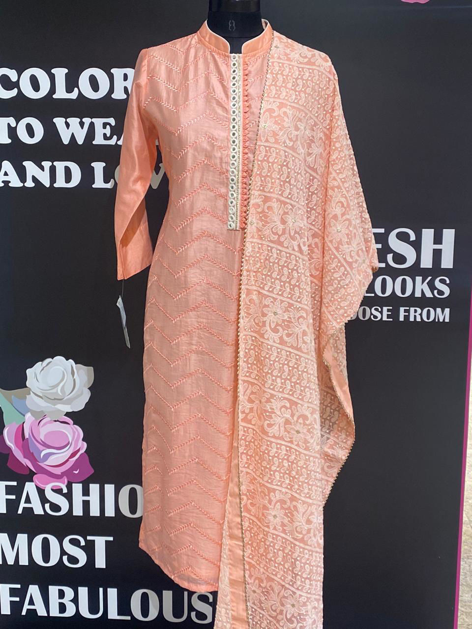 Picture of Long Straight Kurta With Embroidery And Chickankari Dupatta