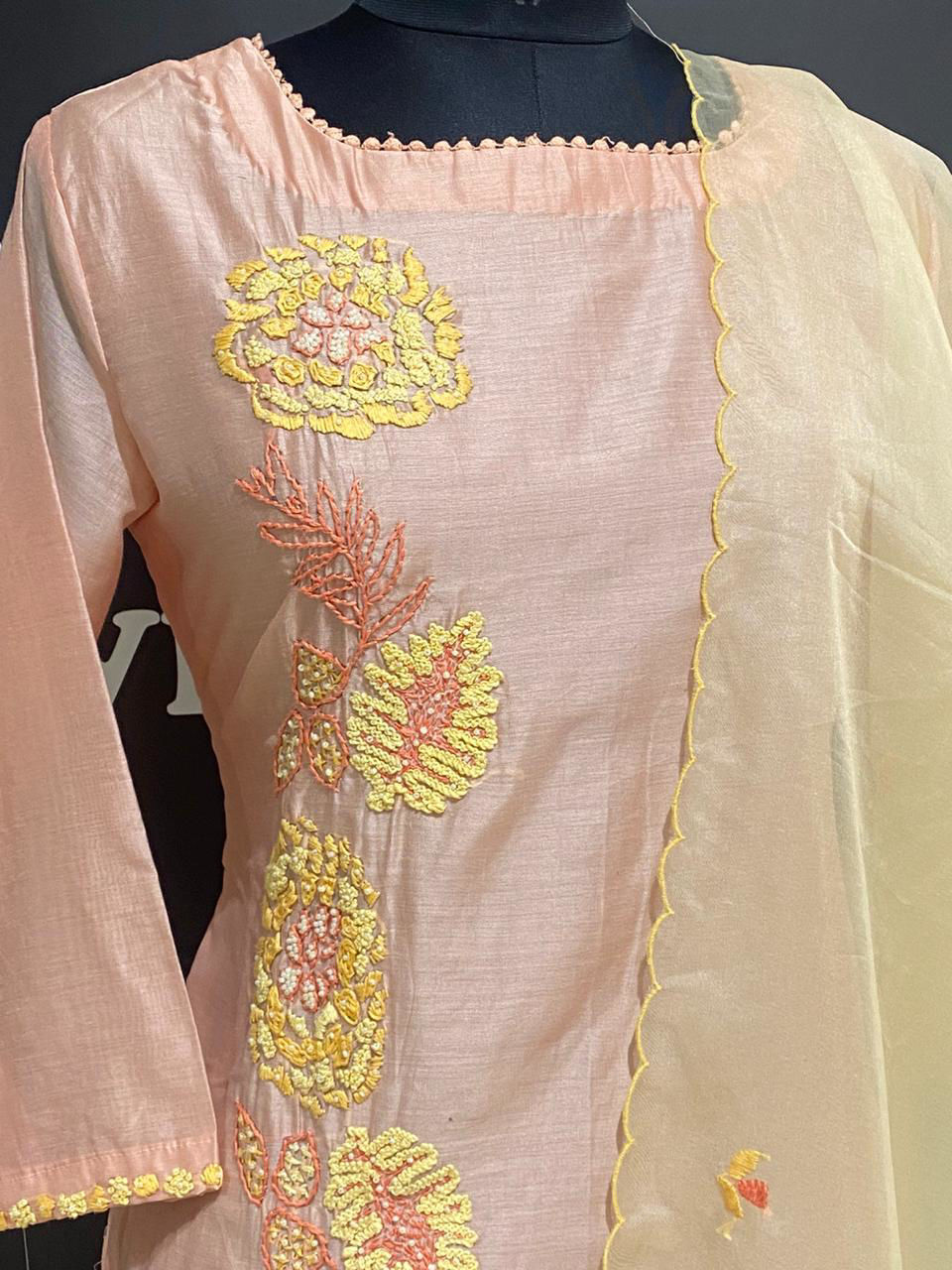 Picture of Long Straight Kurta With Side Embroidery AndDupatta