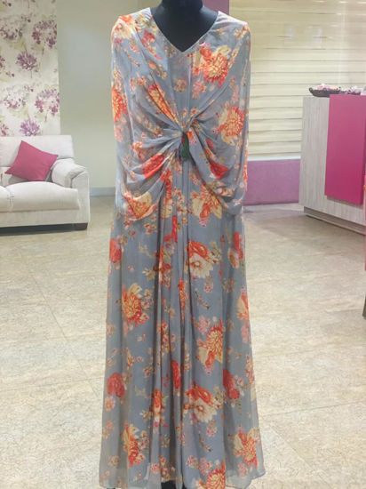 Picture of Long Gown In Cape Style With Knot Pattern In Soothing Floral Prints