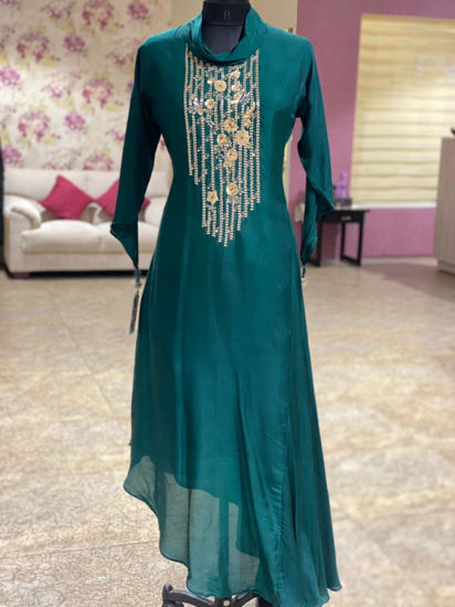 Picture of Indo-Western Tunic With hand Work Yolk And Cowl Neck With Stylish Sleeves