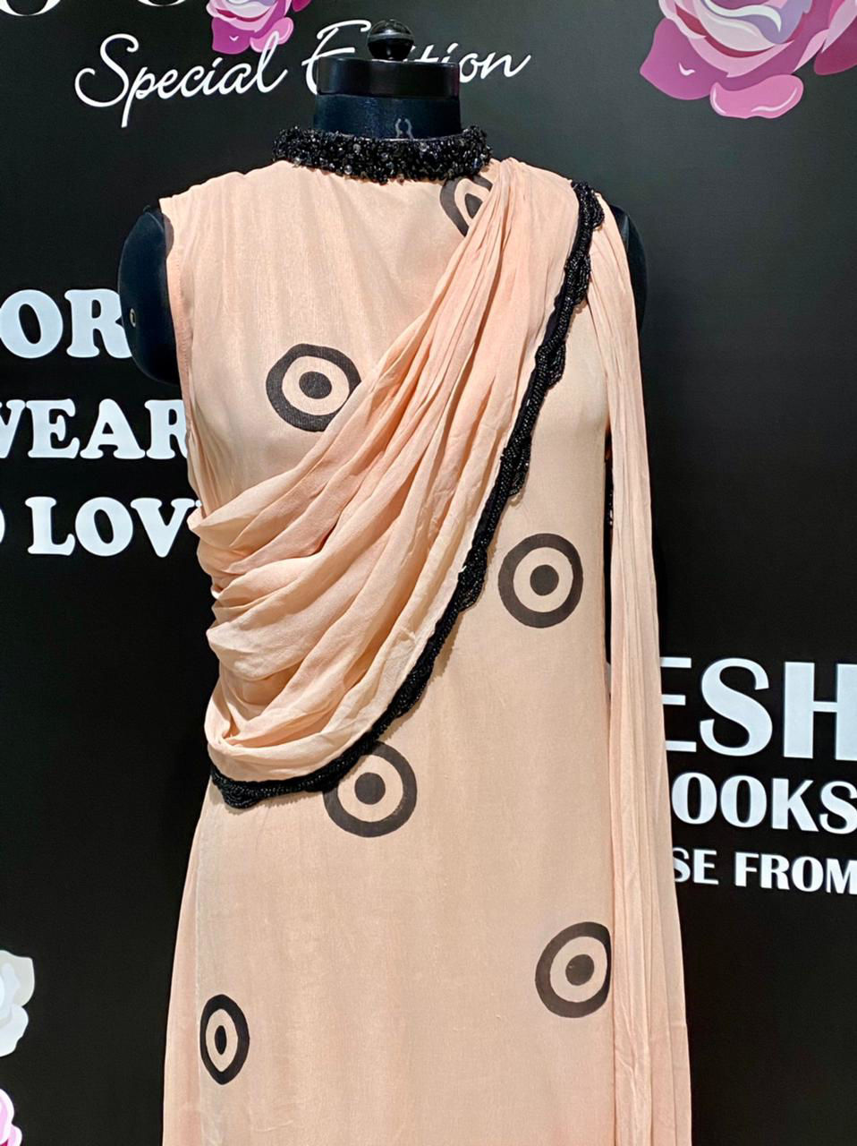 Picture of Indo-Western Drape Style Gown With Collar Work