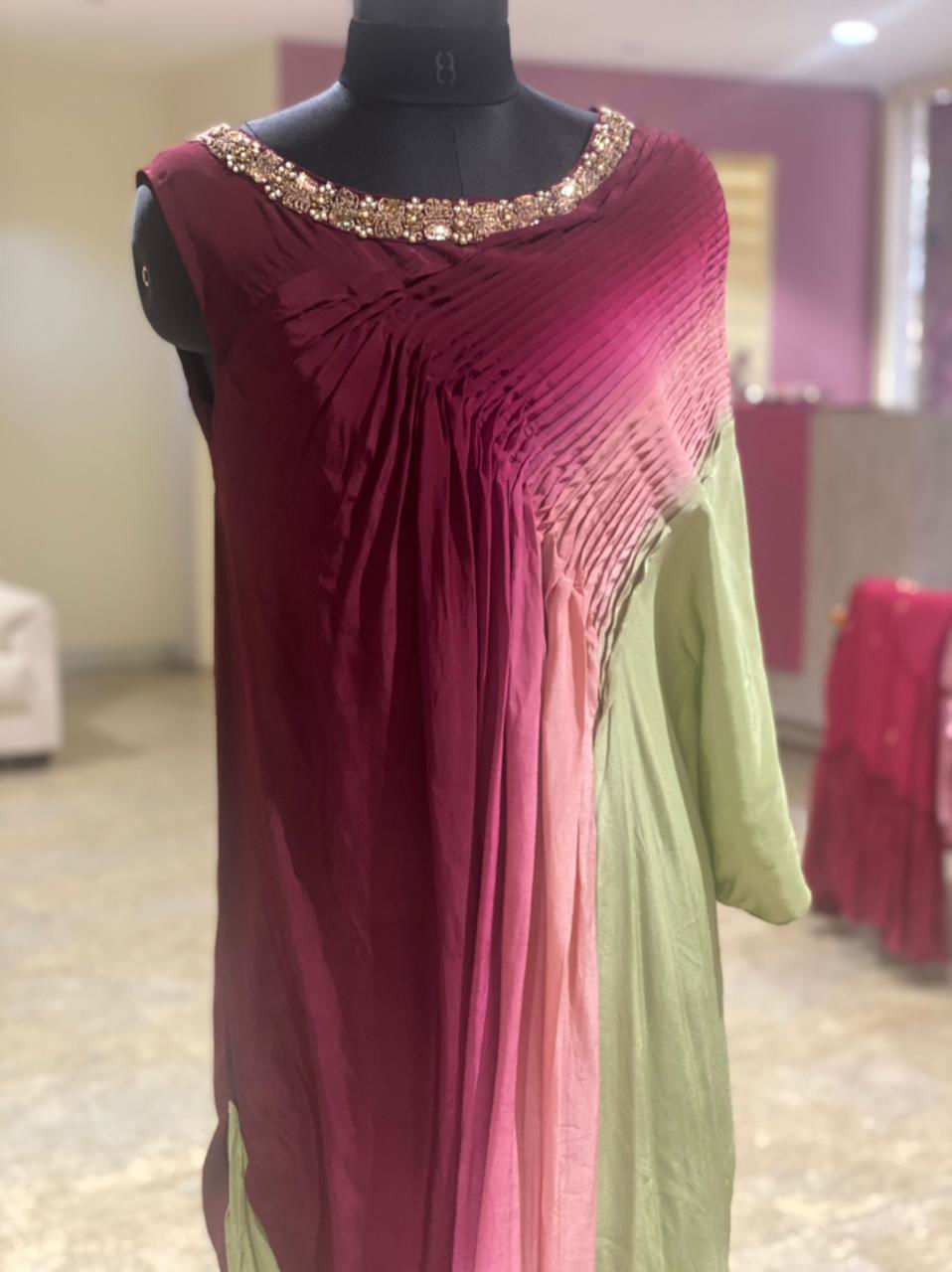 Picture of Indo-Western Tunic In Cowl Cuts With  Pleated One Side