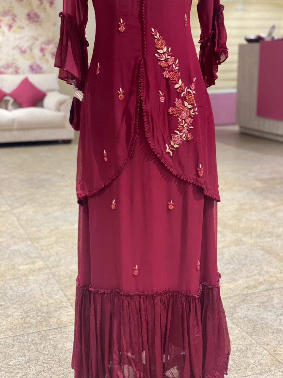 Picture of Attached Jacket Style Pure Georgette Gown With Ruffles And Matching Mask