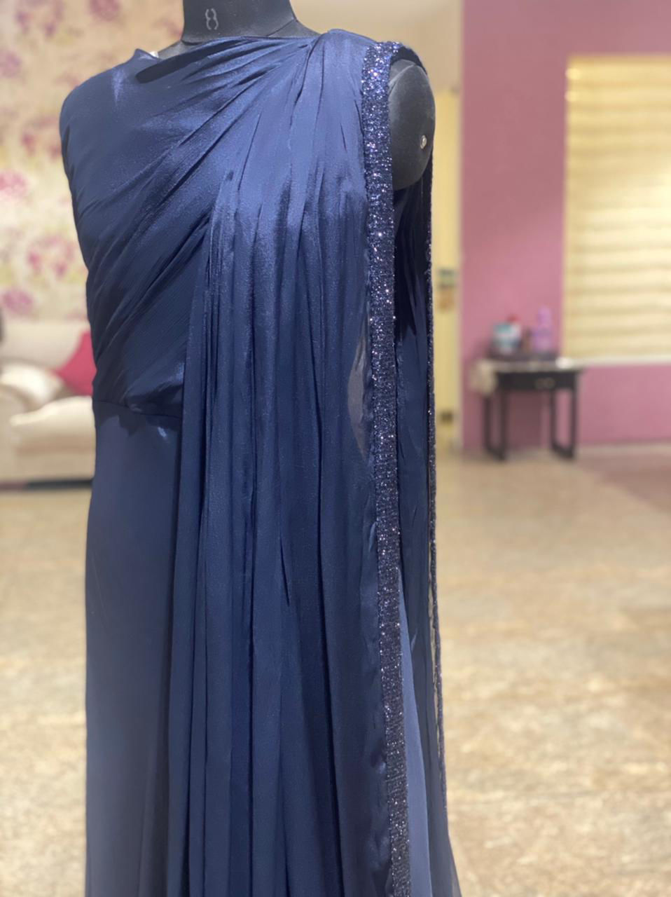 Picture of Long Drape Style Gown With Shimmer Border