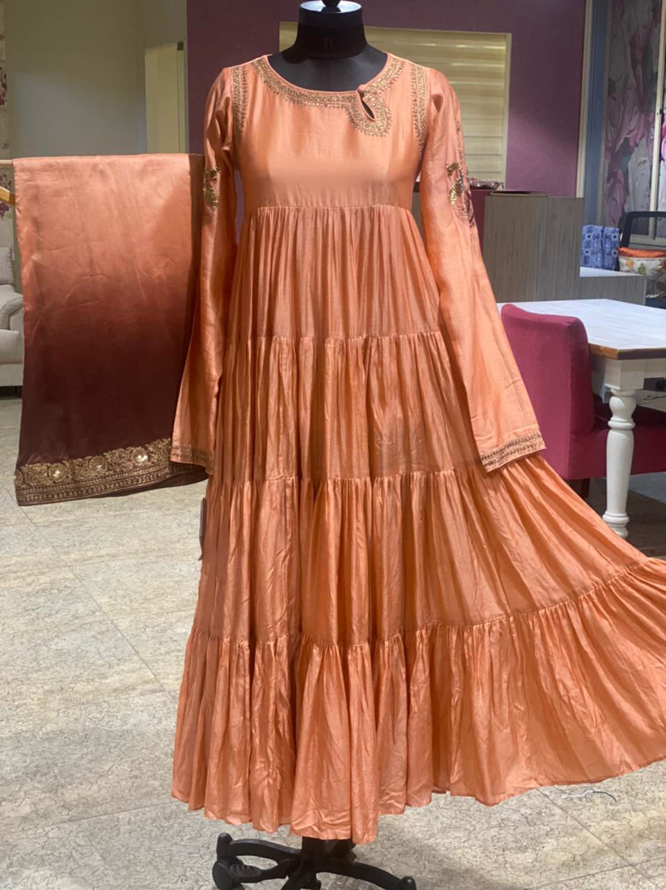 Picture of Pure Chanderi Silk Long Flaired Kurta With Shaded palazzo