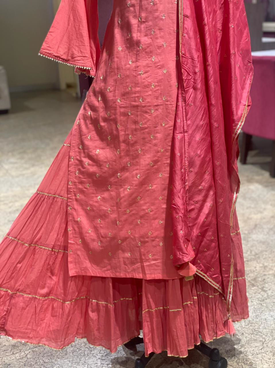 Picture of Long Straight Tunic With Crush Skirt And Silk Dupatta