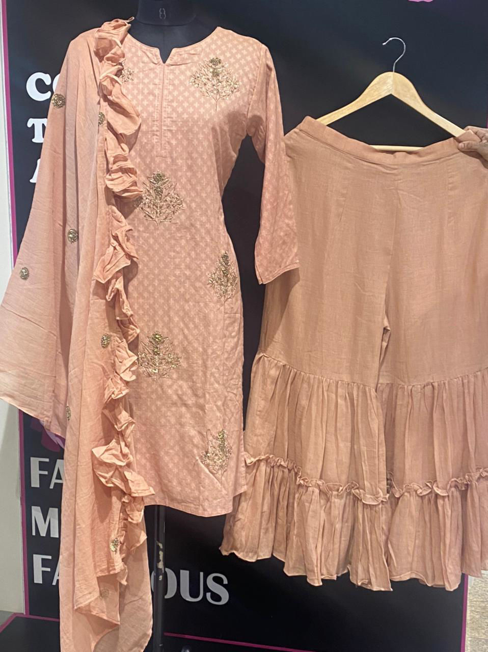Picture of Long Straight Tunic In Self Weaving Ruffled Dupatta And Sharara