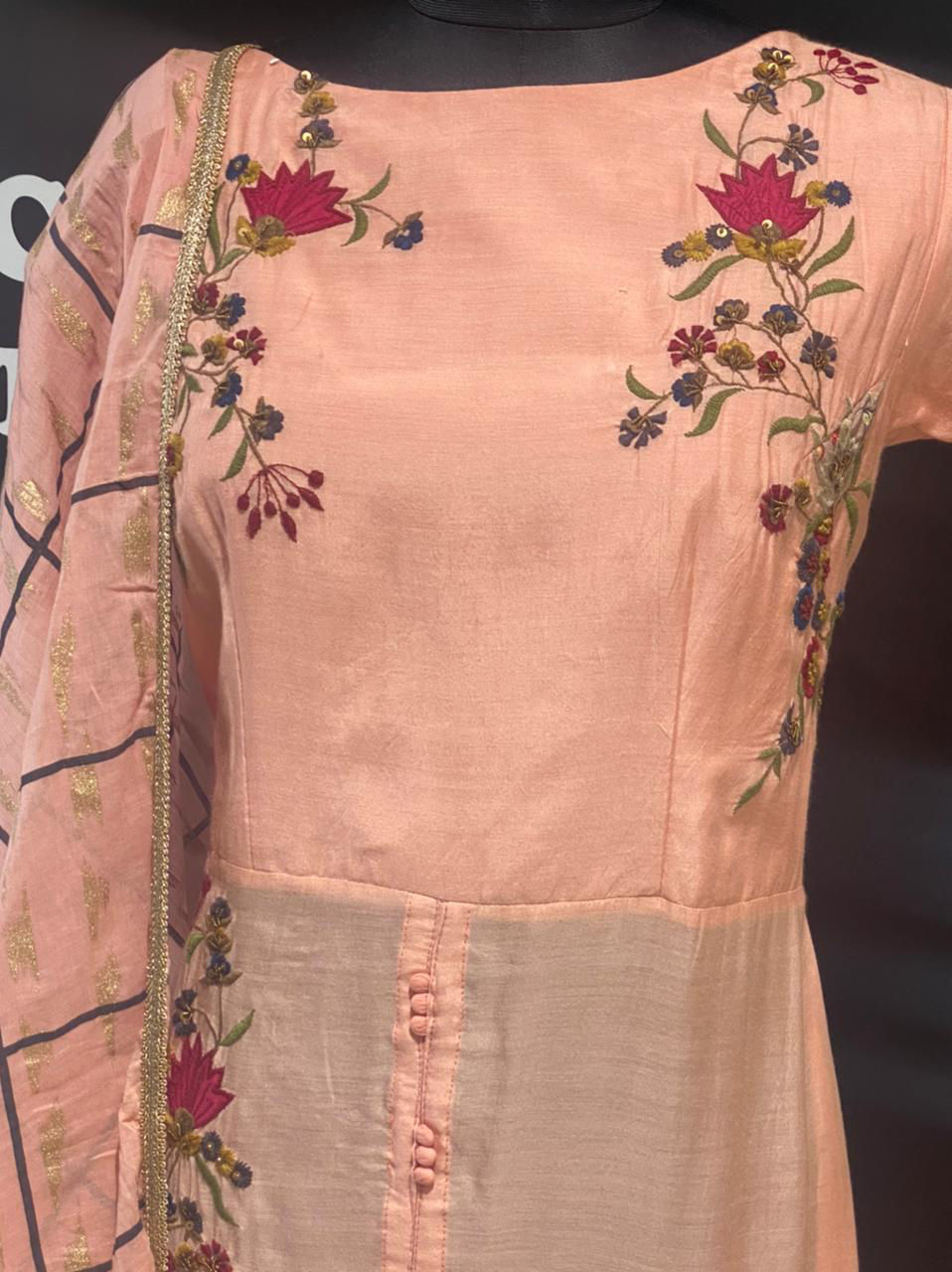 Picture of A Symmetrical Tunic With Embroidery And Gold Printed Sharara And Dupatta