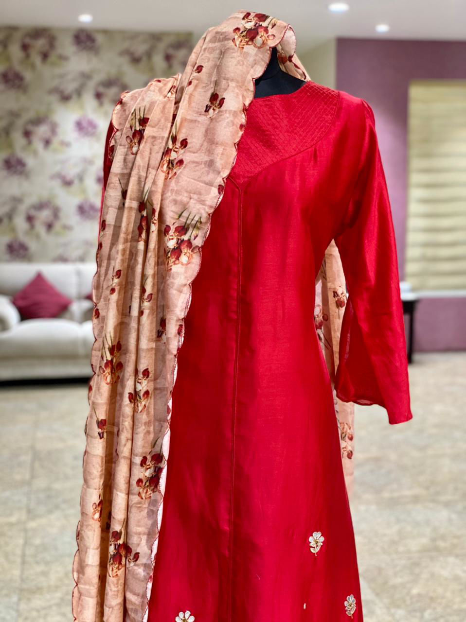 Picture of Long Silk Floor Length Red Gown With Gota Work And Floral Silk Dupatta