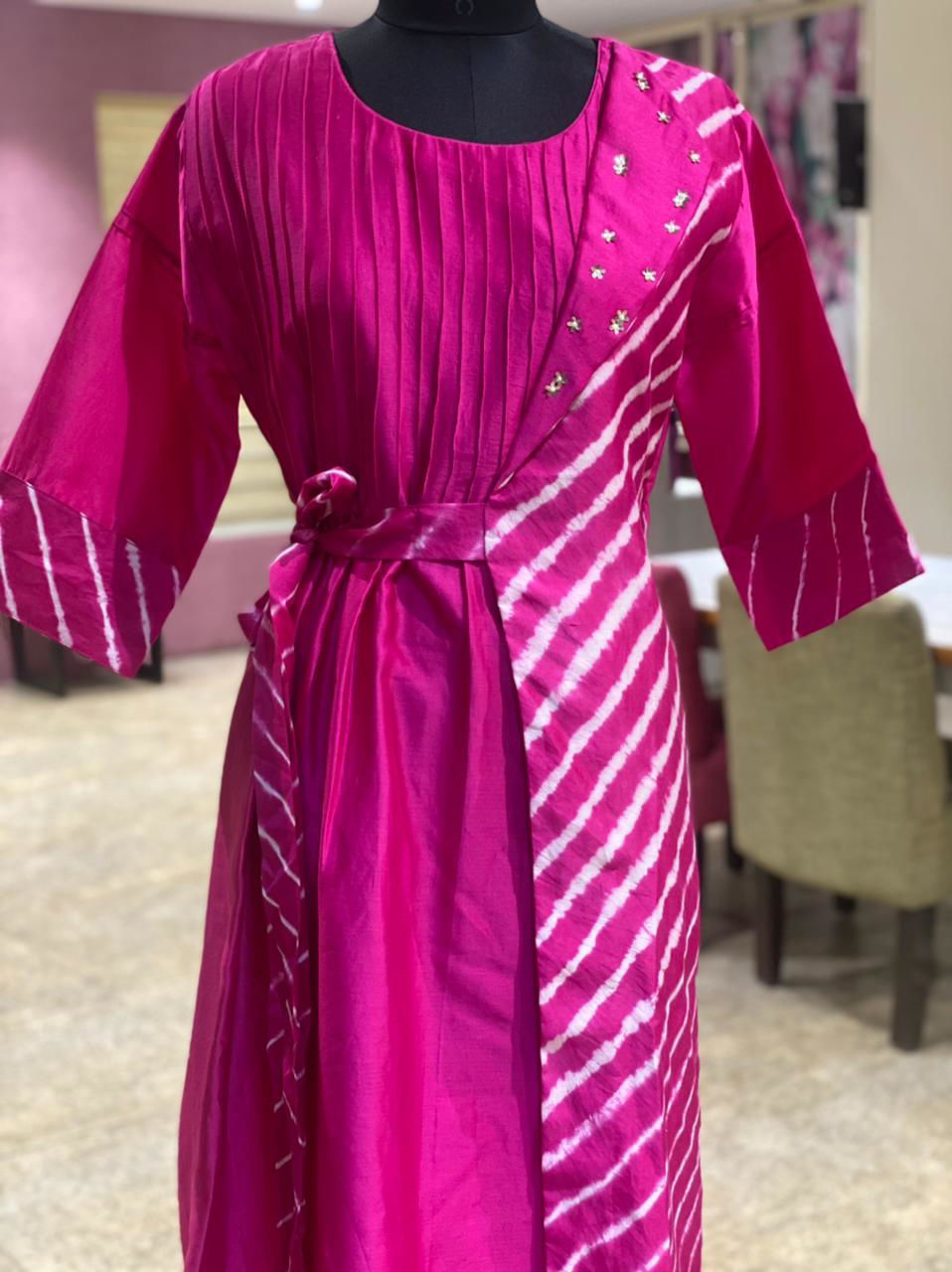 Picture of Silk Floor Length Tunic With Wrap around Style In Leheriya