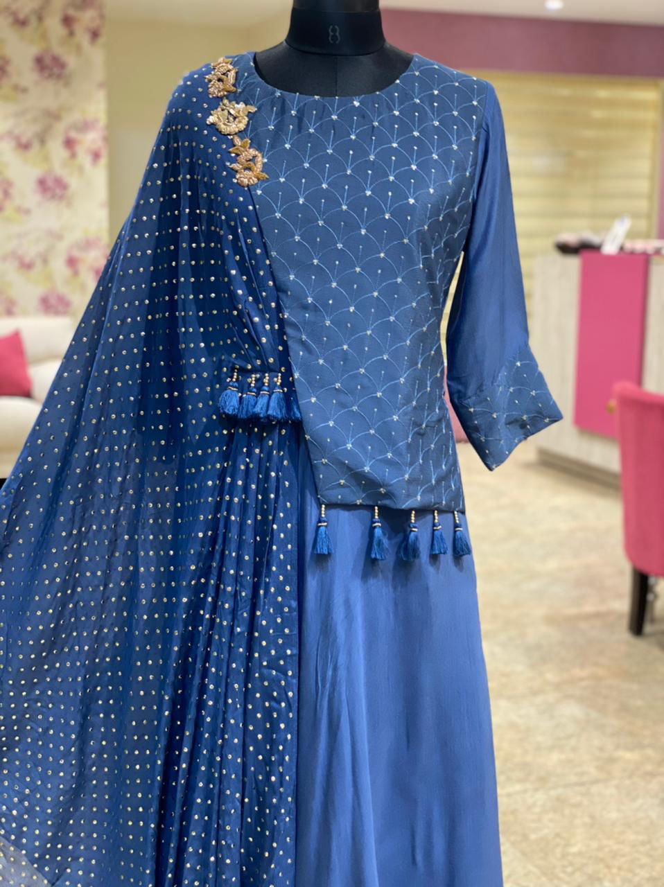 Picture of Long Silk Gown With Crepe Tikki Cape One Side And Matching Mask
