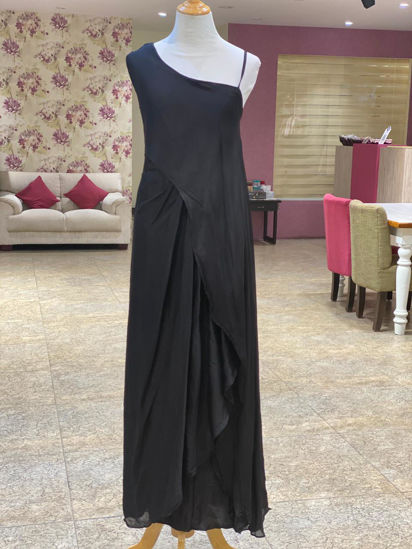 Picture of One Side Shoulder Long Dress With Pleating