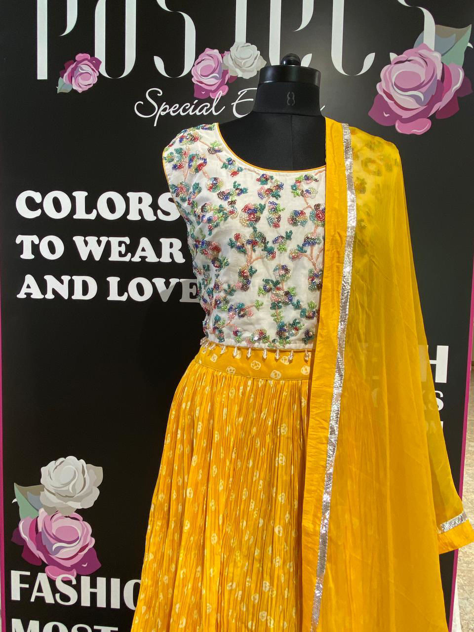 Picture of Multi Colored Sequence Crop Top With Bandhej Pleated Skirt And Shiffon Dupatta