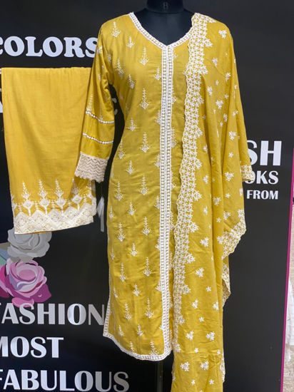 Picture of Pure Soft Mal Cotton Tunic With Palazzo And Dupatta With Embroidery