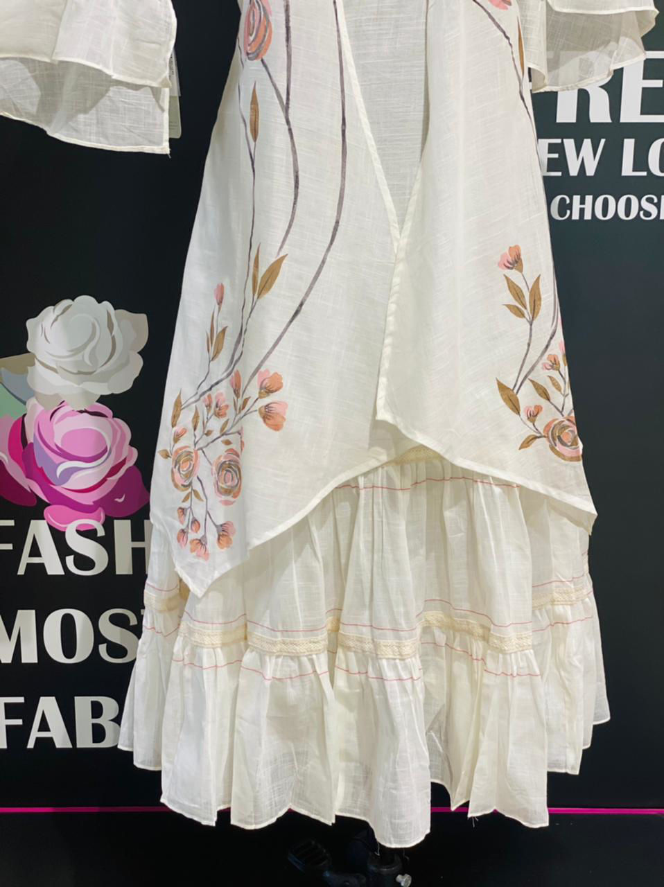 Picture of Cotton Sleeveless Inner With Hand Painted Jacket And Bell Sleeves