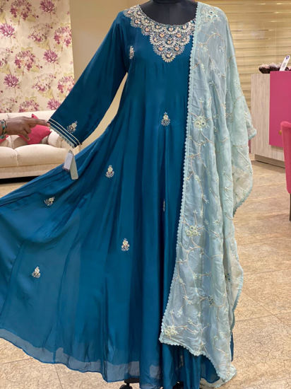 Picture of Silk Floor Length Gown With Zardozi Work With Organza Silk Jaal Dupatta