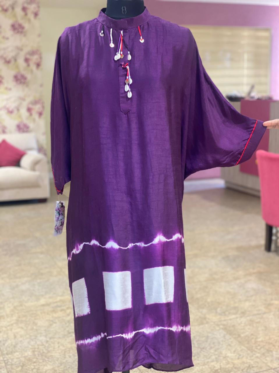 Picture of Silky Indo-Western Loose Box Style Tunic With Tie And Dye