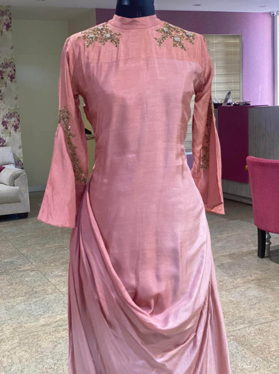 Picture of Silky Indo-Western Tunic With Shoulder And Sleeves Work And Cowl