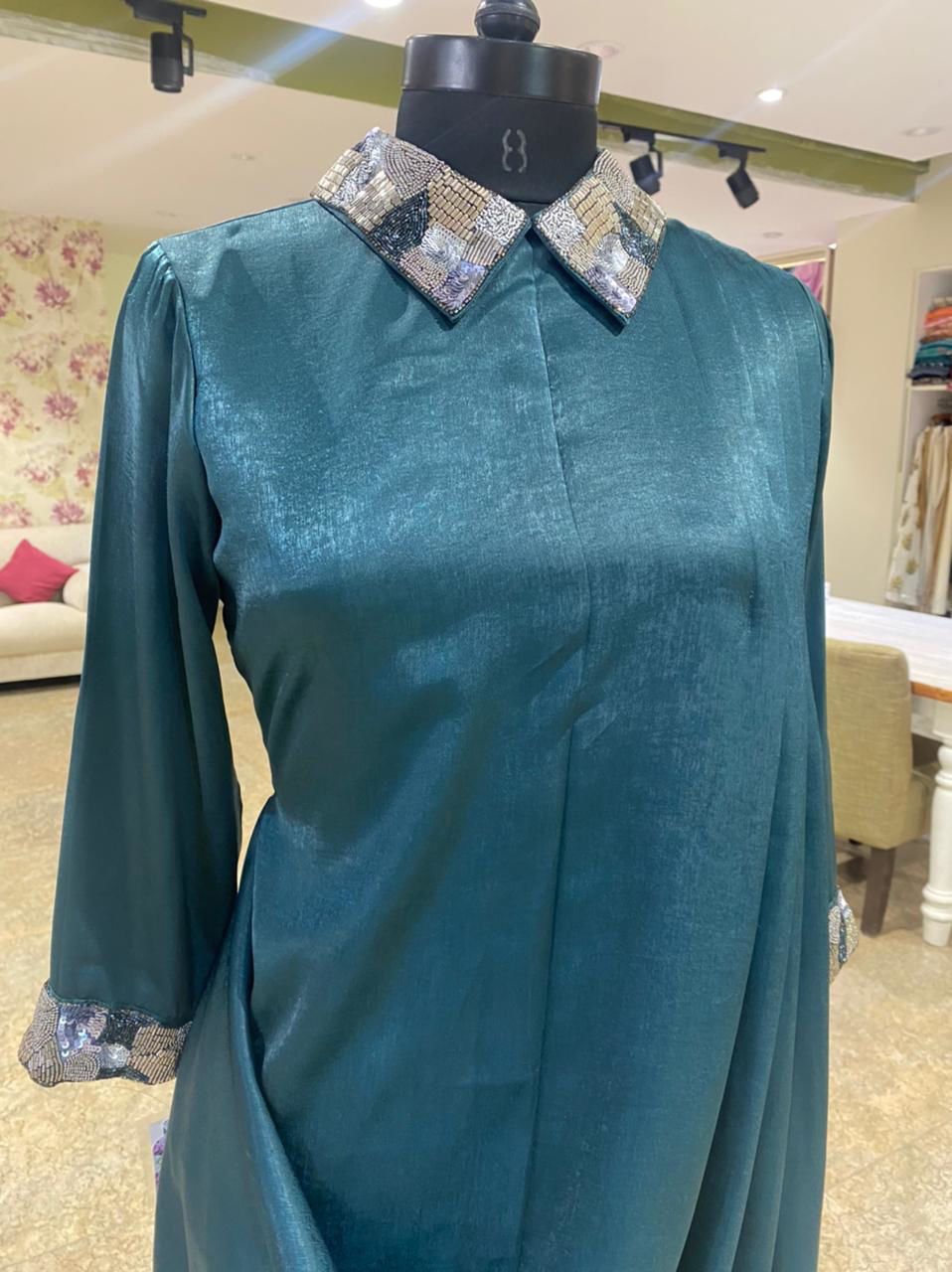 Picture of Satin Silk Indo-Western Tunic With Collar And cowl