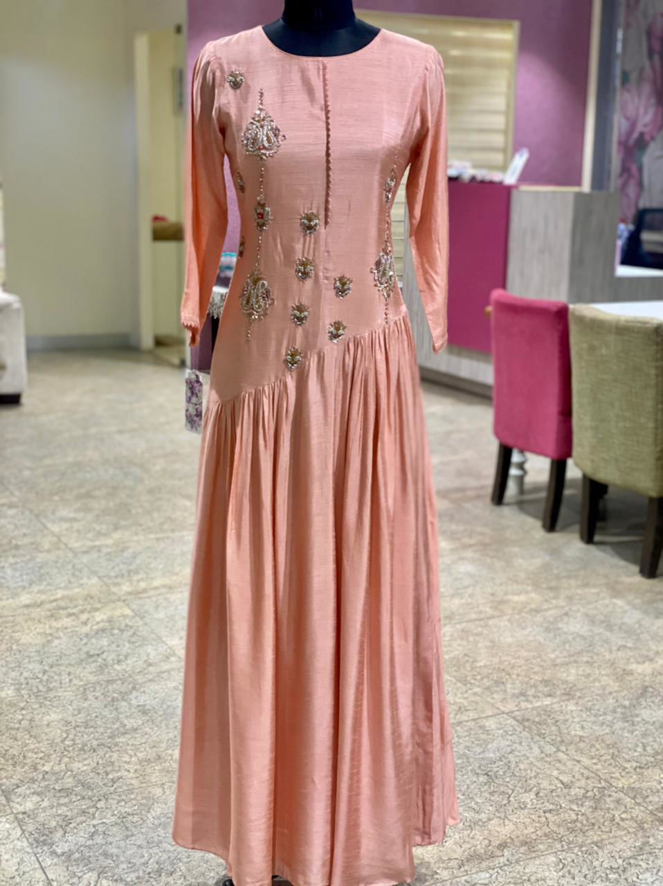 Picture of Pure Silk Floor Length Gown With Zardozi Work And Pleates