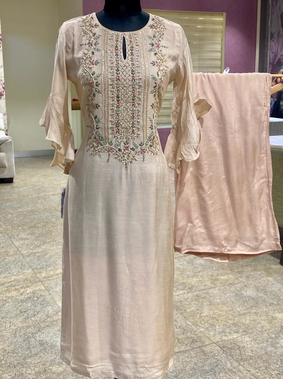 Picture of Pure Silk  Kurta With Yolk Work And Bell Sleeves With Palazzo