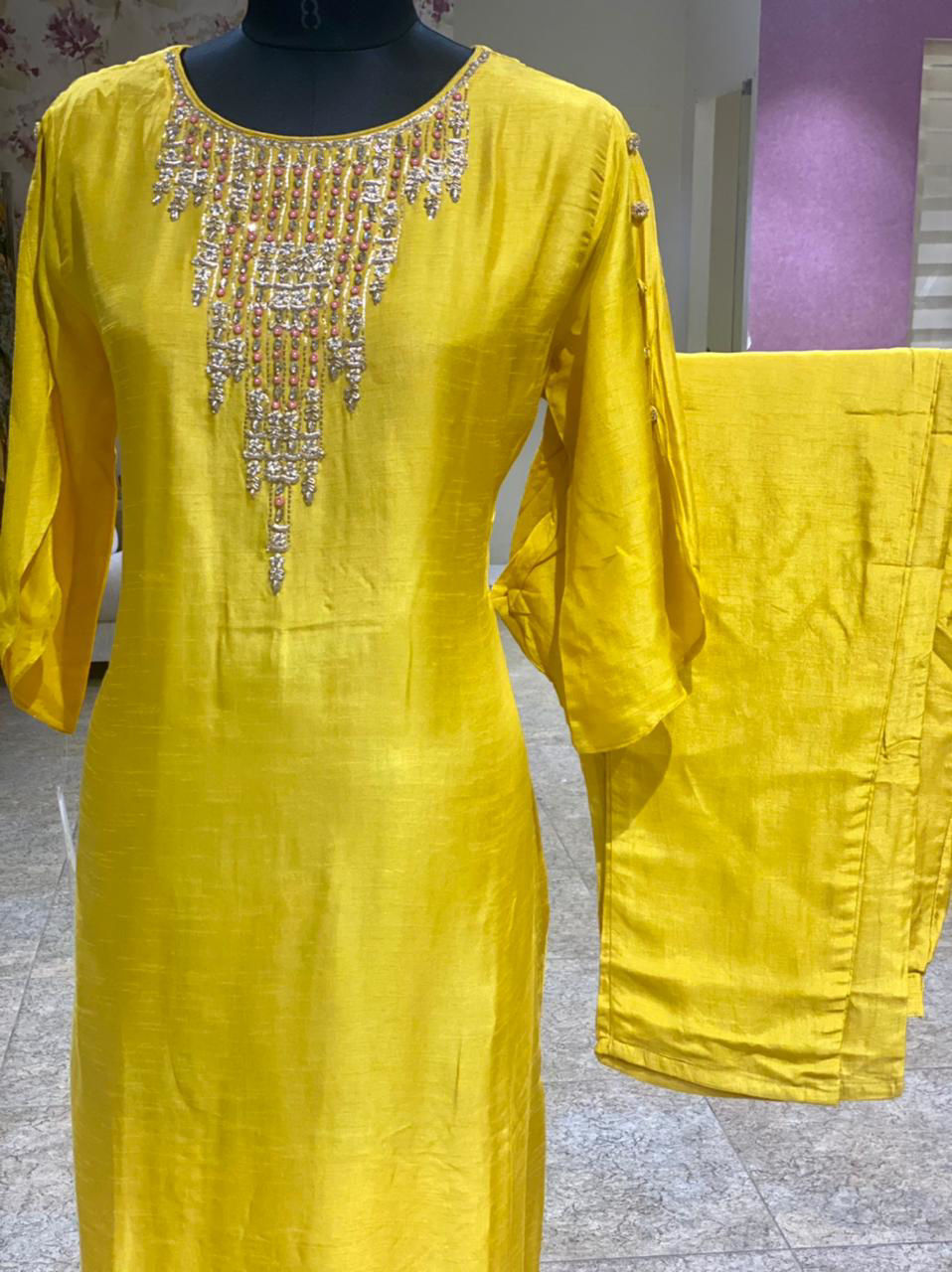 Picture of Pure Silk Kurta With Neckline Hand Work With Pants In Bright Yellow