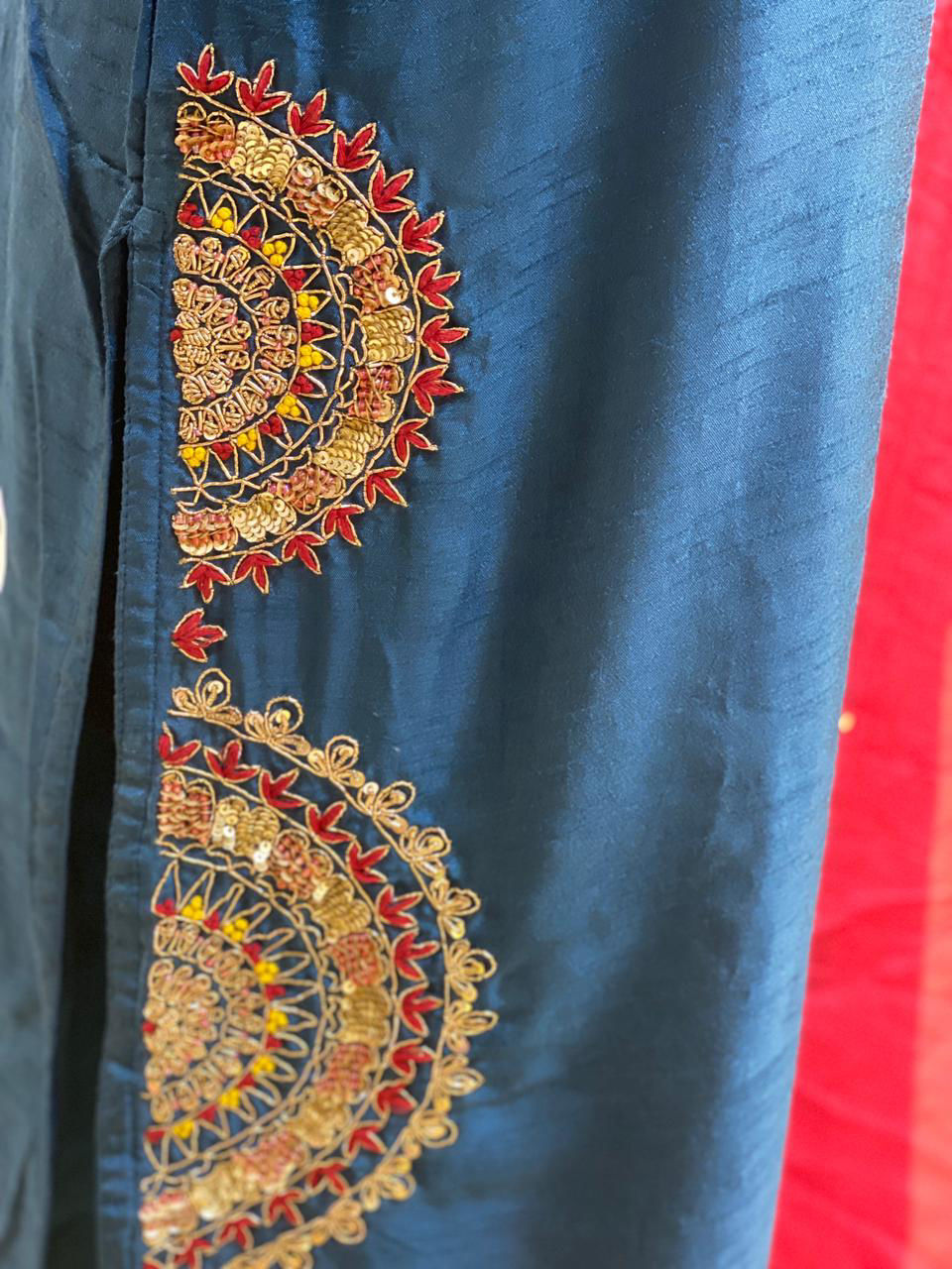 Picture of Pure Silk Kurta With Handwork And Contrast Organza Silk Dupatta And Silk Pants